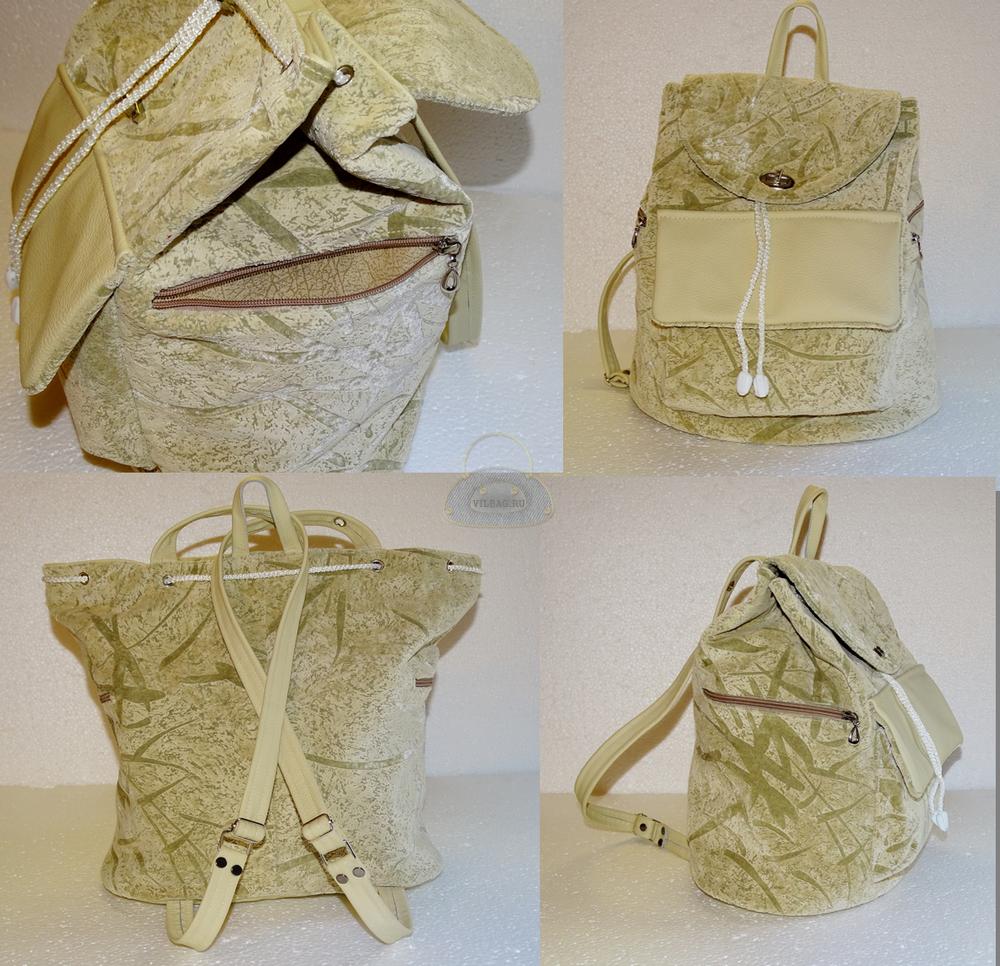 Рюкзак с врезными боковыми карманами и объемным спереди