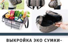 Выкройка эко сумки-рюкзака для покупок, прогулок и поездок. Подробное пошаговое описание пошива.